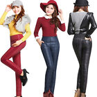 Women Pants Trousers Winter High Waisted Outer Wear Fashion Slim Warm Thick AU