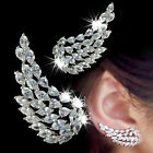1 Pair Angel Wings Ear Cuff White And Gold Plated Cubic Zirconia Earrings