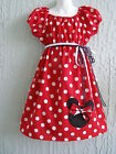 Minnie Mouse Girl Dress 60's Inspired Size 4 6 8 10 12 Cotton Red Wht Blk HNDMD