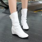 Women wedge heel round mid calf Snoe boots, casual shoes Knight boots