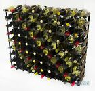 Classic 90 bottle dark oak stained wood and black metal wine rack ready to use