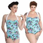 Hell Bunny May Day One Piece Swimsuit Blue Floral XS-4XL Vintage PinUp Style