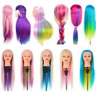 Salon Hairdressing Colorful Long Hair Mannequin Doll Training Head+Clamp