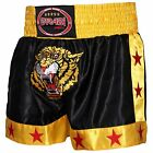 Farabi Muay Thai Kick Boxing Training Satin Black Gold Short Tiger Embroidery