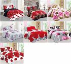 3D Effect Duvet Quilt Cover Bedding Full Set Fitted Sheet Pillow Cases Floral