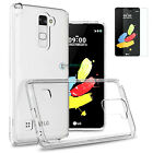 Slim Silicone Clear Crystal TPU Gel Case +Tempered Glass Screen For LG Cellphone