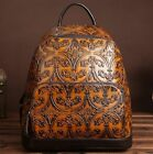 New Women Handmade Genuine Leather Backpack Travel Bag Embossed cow leather S