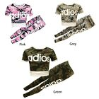 Girls Kids Tracksuit ADIOS Camouflage Printed Crop Top/T Shirt & Jogging Bottom