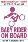 vinilo adhesivo, pegatina, sticker, decal vinyl BABY RIDER ON BOARD BICI 01