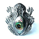 FROG RING Abalone Shell Stone Marcasite .925 Sterling Silver (SIZE 6,7,8,9)