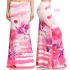 Pink Floral Brush Sublimation high waist fold over maxi long skirt (S/M/L/XL)