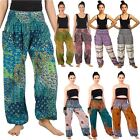 Women Floral Smocked Waist Boho Long Pants Yoga Harem Hippie Trousers