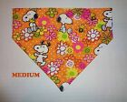 Snoopy Groovy Flowers or Paisley Blue Over Collar Slide On Pet Dog Bandana Scarf