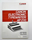 Canon AP210 Electronic Typewriter Vintage Instruction Manual Book