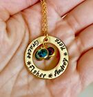 Personalized Necklace-name mom grandma necklace with birthstone Hand stamped