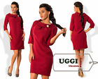 Elegant Woman Dress Crepe-Suiting fabric 3/4 Sleeve Above Knee Casual