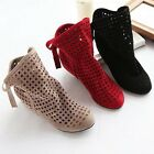 Women Cut Outs Spring Casual Ladies Flat Ankle Summer Boots Hollow Shoes