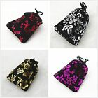 lot of 25 50 100 Black Jewelry Pouches Velvet Gift Bag With Flower Wedding Favor