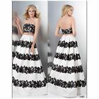 COLOR DRESS1497  CROP TOP 2PIECE BLACK-WHITE JOVANI,TERANI,SHERRI HILL,PROM $499