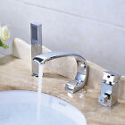 Brushed Nickel Waterfall Spout Bathroom Tub Faucet 3 PCSHand Shower Sprayer Tap