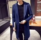 Mens England Korea Long Double Breasted Lapel Trench Coat Slim Fit Spring Vogue