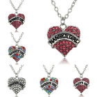Family Heart Crystal Nanny Mommy Daddy Grandma Chain Pendant Necklace Jewelry