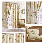 Summer Garden Pencil pleat Lined Curtains & cushions Pink/ Lilac or Terra/ Lemon
