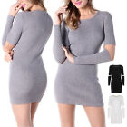Womens Ladies Long Sleeve Bodycon Chunky Knitted Long Jumper Sweater Dress Top