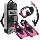 Tusa Sport Serene Mask Fins Snorkel & Deluxe Bag - PINK - Small or Medium - NEW