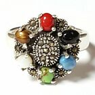 MULTI STONES RING Turquoise Onyx Pearl Marcasite 925 STERLING SILVER: SIZE 6,7,8