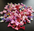 Assorted Pet Cat Dog Hair Bows Rubber Band Animal Grooming Accessories Hand Made