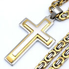 Men's Boys Gold Silver Stainless Steel Cross Pendant Byzantium Chain Necklace