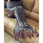 Muticolor Blankets & Throws Crocheted Mermaid Cocoon Blanket With Sparket Scales image