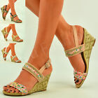 New Womens Ladies Mid Wedge Heel Ankle Sandals Diamante Summer Shoes Size Uk 3-8