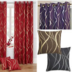 Metallic Printed Swirl Lined Ring Top Curtains or matching cushion covers SALE