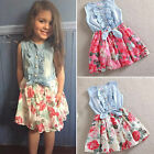 Girls Toddler Kid's Denim Tops Floral Ruffled Bow Dress Party Princess Sundress