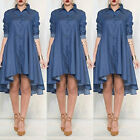 USA Women Loose Long Sleeve Plus Size Cocktail Evening Party Mini Jean Dress New
