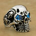 Blue CZ Eyes 316L Stainless Steel Titan Skull Mens Boys Biker Ring 3A101A USA