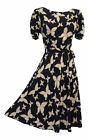 New Retro WW2 Wartime 1930's 1940's Style Navy Butterfly Print Tea Dress