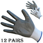 12 PAIRS NITRILE RUBBER COATED PALM SAFETY GRIP WORK GLOVES BUILDERS GARDENING