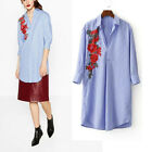 New Womens Ladies Striped Print 3/4 Sleeve Floral Embroidered Long Shirt Blouse
