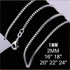 Christmas Wholesale 925 Silver Lots 5pcs1-2mm Snake Box Chain Necklace 16-30inch