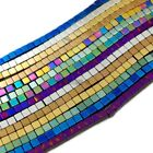 """Natural Hematite Gemstones Square Cube Silver Gold Multi-color Beads 16"""" Healing"""
