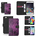 faux leather wallet case for many Mobile phones - purple animal skin