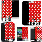 PERSONALISED INITIALS CASE FOR HTC MOBILES - red ploka stripe MONOGRAM