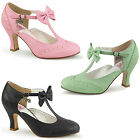 Flapper-11 Coole Pin up Couture Frauen Mary Jane Pumps schwarz mint pink Gr36-43