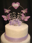 lilac glitter butterfly heart babies breath pearl Mum birthday cake topper