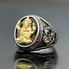 Silver Gold Hindu Stainless Steel Phra Pikanet Lord of Success Ganesha Men Ring