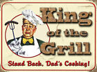 KING OF THE GRILL BBQ BARBECUE DAD COOKING METAL PLAQUE SIGN VINTAGE RETRO 173