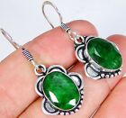 Emerald & 925 Silver Handmade Beautiful Earrings 37mm LS-10362